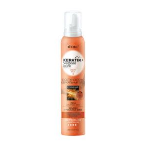 Keratin + жидкий Шелк ПЕНА для укладки волос сверхсильной фиксации Восстановление и зеркальный блеск Вiтэкс