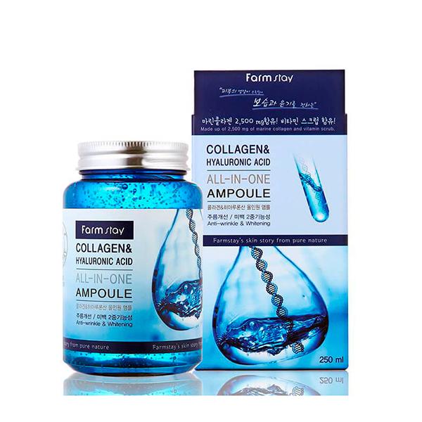 Ампульная сыворотка с гиалуроновой кислотой и коллагеном Collagen Hyaluronic Acid All-In-One Ampoule FarmStay