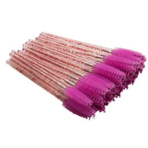 Одноразовая щеточка для ресниц и бровей акриловый стержень и фиолетовая кисть, упаковка