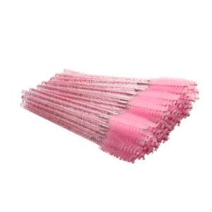 Одноразовая щеточка для ресниц и бровей акриловый стержень и розовая кисть, упаковка