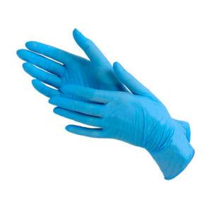 Перчатки нитриловые голубые, S (100 шт)
