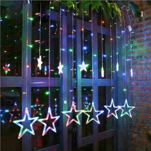 Новогодняя гирлянда штора Звезды цветной