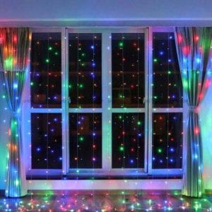Новогодняя гирлянда-штора 3 х 3 м цветной