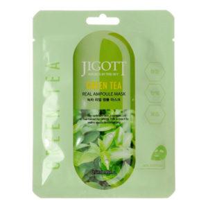 Ампульная маска для лица с экстрактом зеленого чая Jigott