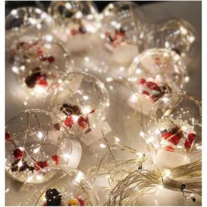 """Новогодняя гирлянда штора шарики с игрушкой """"Дед Мороз"""" желтый"""