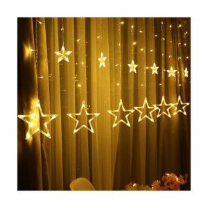 Новогодняя гирлянда штора Звезды желтый