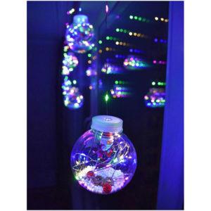"""Новогодняя гирлянда штора шарики с игрушкой """"Дед Мороз"""" цветной"""