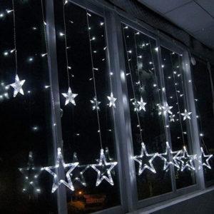 Новогодняя гирлянда штора Звезды белый
