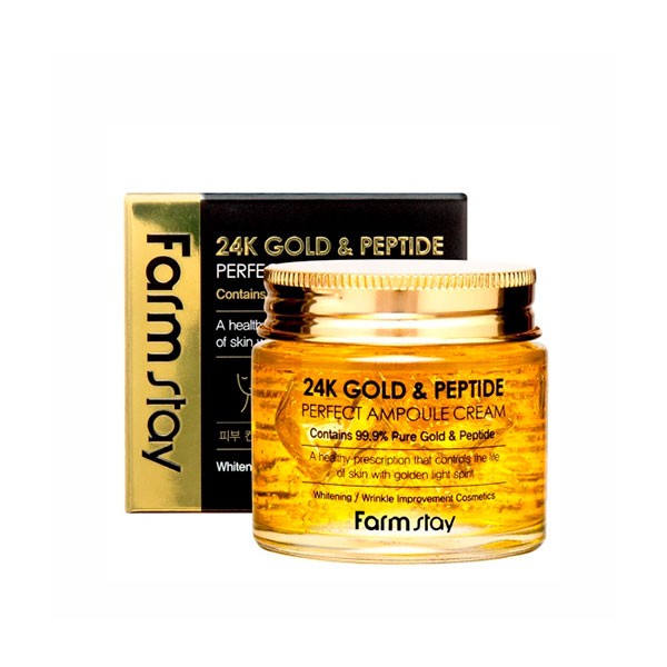 Крем для лица с золотом и пептидами  Farmstay 24K Gold & Peptide