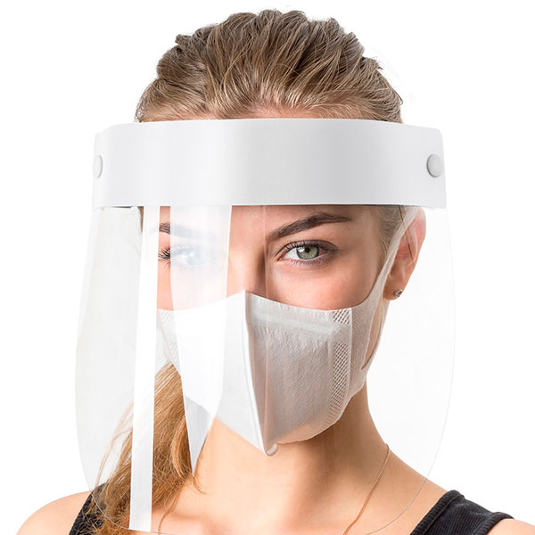 Экран защитный для лица многоразовый 1 шт. + маска голубая 5 шт., комплект